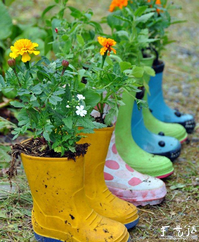 用雨鞋diy的漂亮花盆