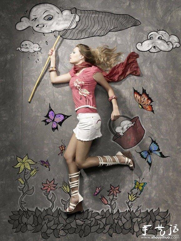 粉笔画与人之间的奇妙互动图案