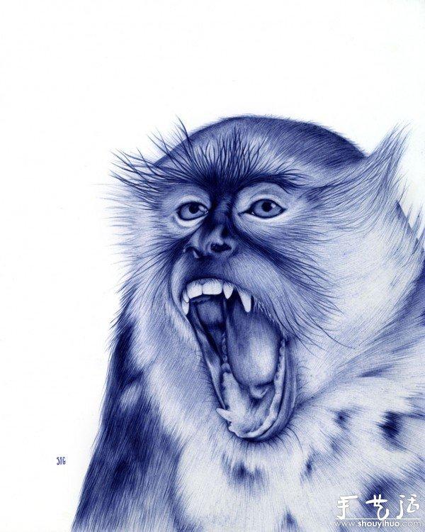 圆珠笔绘制的动物肖像 2