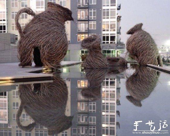 天然树枝巧妙diy的雕塑作品