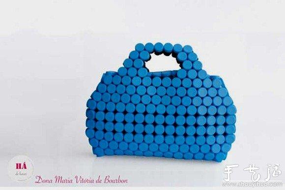 饮料瓶盖制作的手工包包