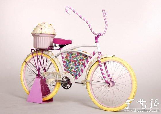 由糖果,蛋糕diy制作的自行车,好想好好啃几口.