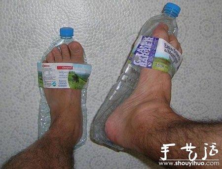 废弃矿泉水瓶diy的拖鞋图片