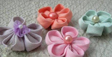 布艺手工 布艺花朵  diy布艺樱花的教程,怎么做布艺樱花的方法: 1,7cm
