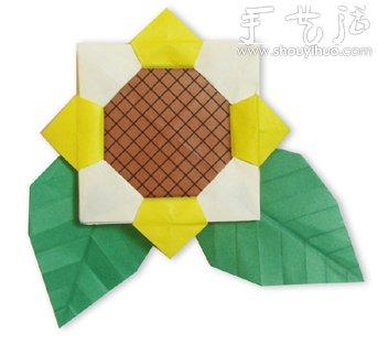 向日葵花朵部分的折纸教程