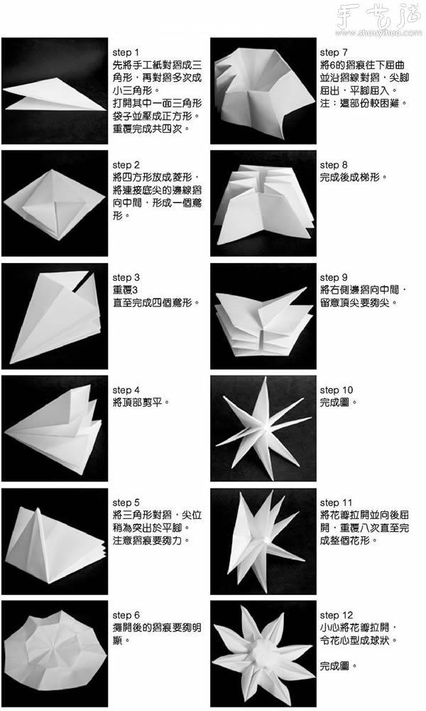 太阳花折纸大全图解_太阳花的手工折纸方法_手艺活网