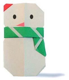 雪人的摺紙方法