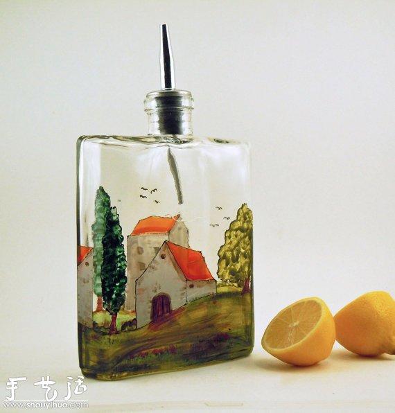 玻璃瓶彩绘:装在瓶子里的普罗旺斯图片