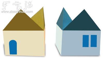小房子折紙方法,按照圖示教程折好房子