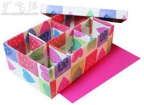 废旧鞋盒手工制作漂亮收纳盒的方法图片