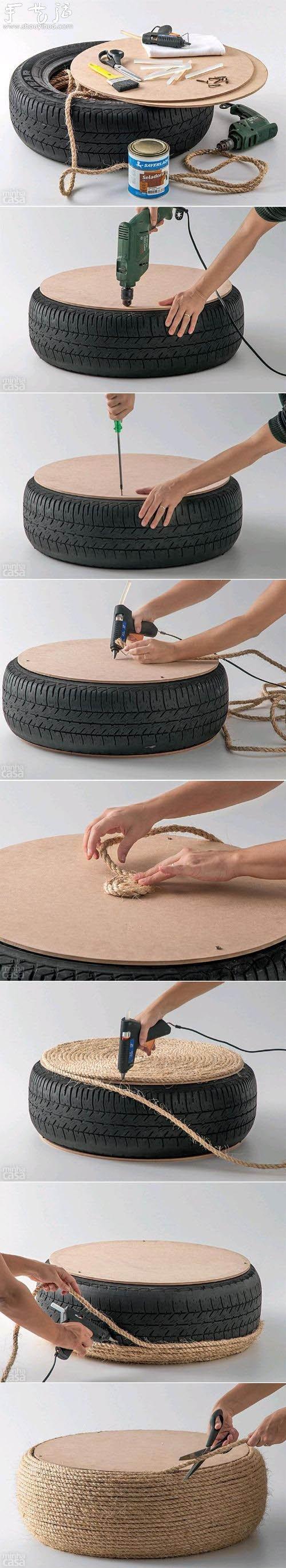 废弃汽车轮胎制作茶几的方法教程 - www.shouyihuo.com
