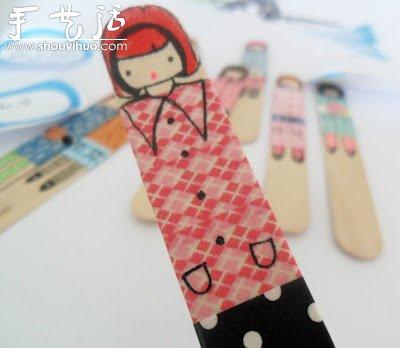 雪糕棍上绘制的可爱小女生(2)