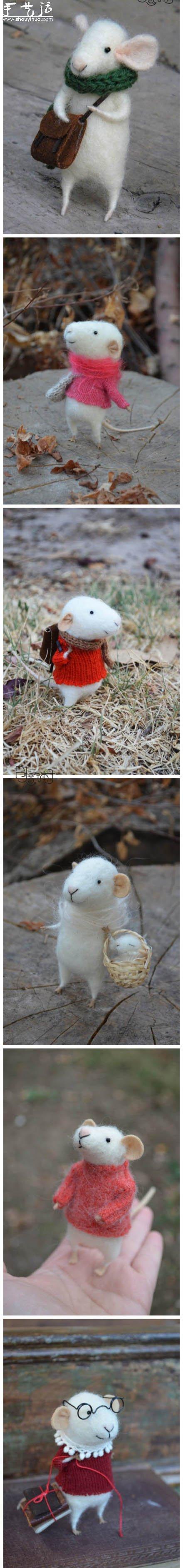 羊毛毡制作的可爱精灵鼠小弟 -  www.shouyihuo.com