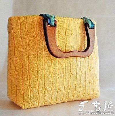 旧毛衣手工DIY制作时尚手提包的教程
