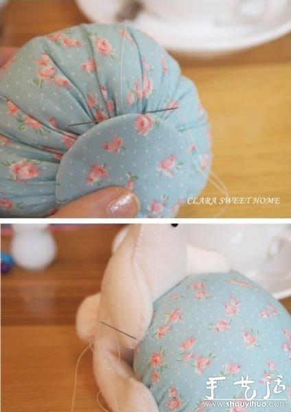 手工布艺制作抱球兔子的教程 -  www.shouyihuo.com