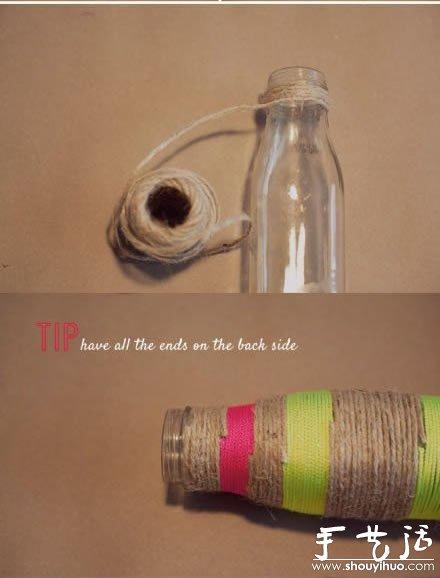 diy步骤:将不同颜色的毛线对玻璃瓶进行缠绕,具体diy方法,请参考下面