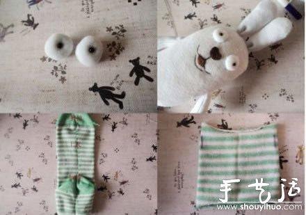 袜子布艺制作可爱兔子的手工教程