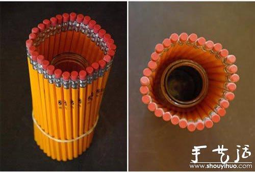 铅笔捆绑diy漂亮笔筒的创意手工教程