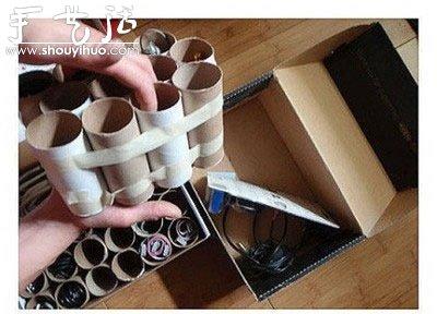 礼品包装盒制作方法_卫生纸卷筒DIY电线收纳盒_手艺活网