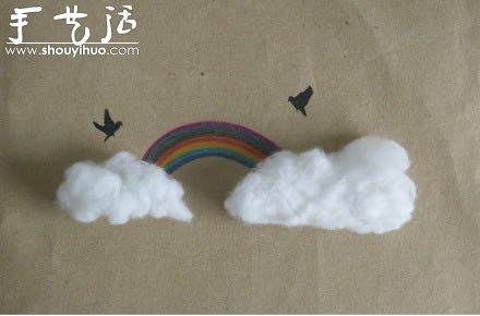 创意画作  棉花与手绘结合的创意手工,非常简单的小制作,关键是创意啊图片