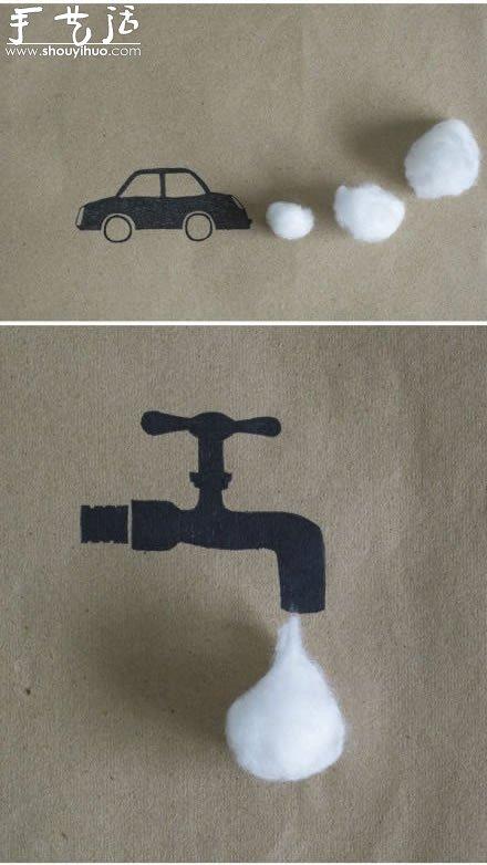 小制作 创意手工 创意画作  棉花与手绘结合的创意手工,非常简单的小