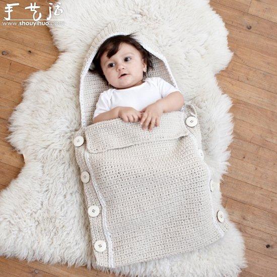 纯手工针织的可爱宝宝睡袋