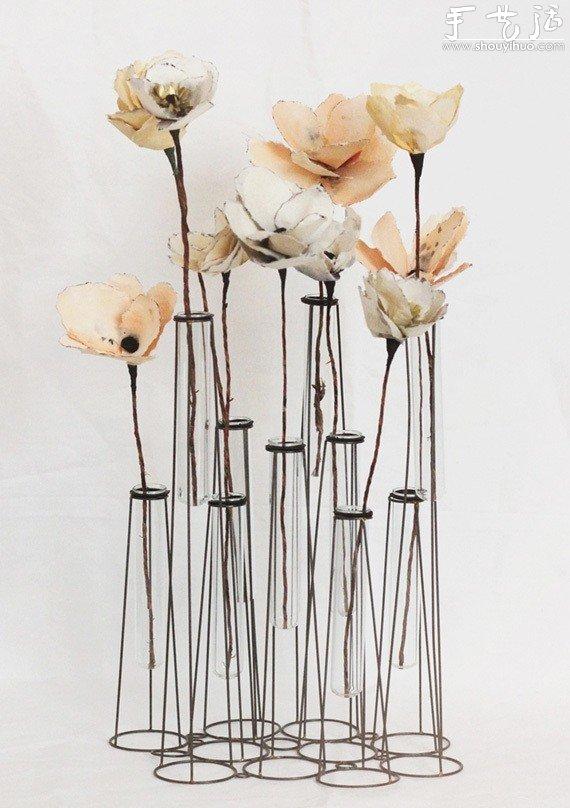 铁丝和玻璃试管制作的创意花瓶图片