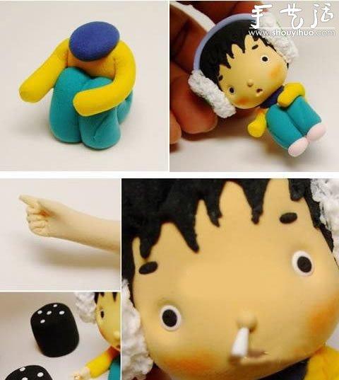 软陶手工制作:很卡通很萌的小男孩