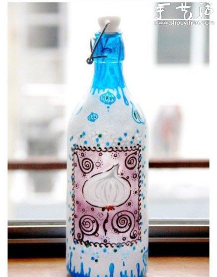 漂亮的手绘玻璃瓶diy教程