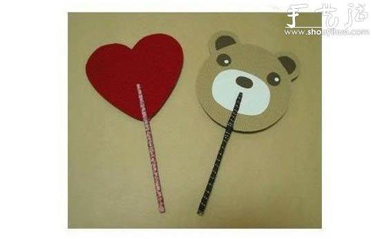 手工折纸剪纸示意图图片; 硬纸板diy小熊纸扇的教程;