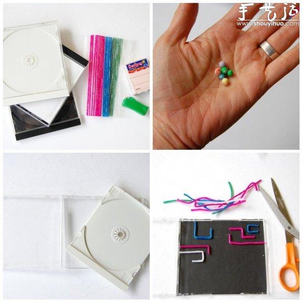 wwwssxxkcd_cd盒手工制作成小迷宫玩具的教程 - www.shouyihuo.com