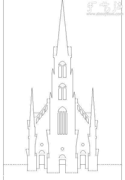 手绘黑白图片古堡
