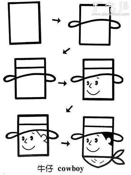 利用正方形画简笔画