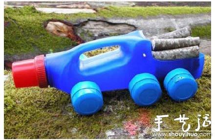 洗衣液塑料瓶手工DIY运输卡车- www.shouyihuo.net
