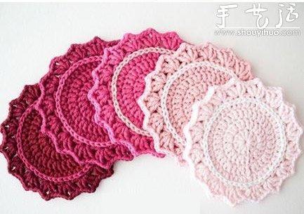钩针编织制作小清新杯垫的教程