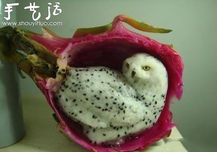 小制作 创意手工 水果美食  猫头鹰好玩火龙果 分享到图片