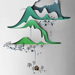 中国山水风纸艺作品欣赏