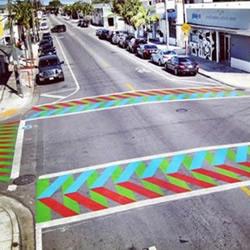创意DIY彩色斑马线