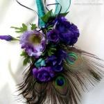 孔雀羽毛手工制作的新郎胸花