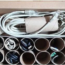 卫生纸卷筒DIY电线收纳盒