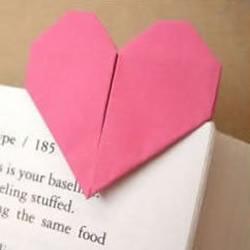 折纸心形书签的教程