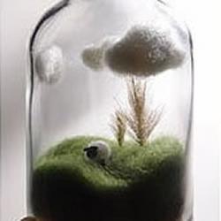 羊毛毡制作的瓶中世界