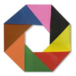 三角插原理组合制作圆环的折纸教程