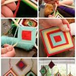 筷子和毛线编织制作漂亮的壁挂装饰物