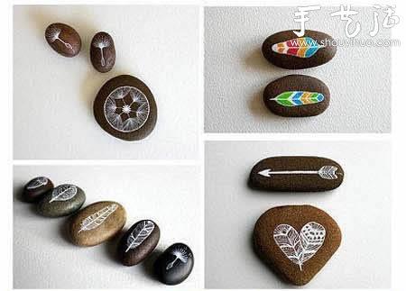 手绘石头画的教程