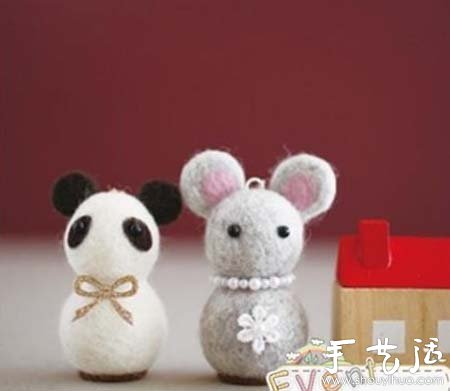 羊毛毡diy制作可爱动物玩偶