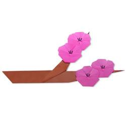 粉色桃花的折纸方法