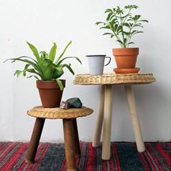树干枝桠DIY制作页岩桌子