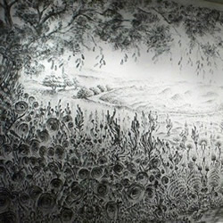 双手蘸木炭细粉绘制的山水画