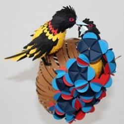 小鸟主题剪纸作品